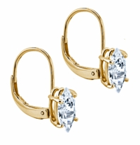 .75 Carat Each Marquise Cubic Zirconia Leverback Earrings