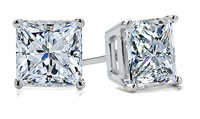 .75 Carat Each Princess Cut Square Cubic Zirconia Stud Earrings