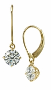 .75 Carat Each Round Cubic Zirconia Basket Set Dangle Leverback Drop Earrings