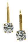 .75 Carat Each Round Cubic Zirconia Leverback Stud Euro Wire Earrings