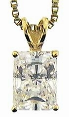 .75 Carat Emerald Radiant Cut Cubic Zirconia Classic Solitaire Pendant in 14K Yellow Gold