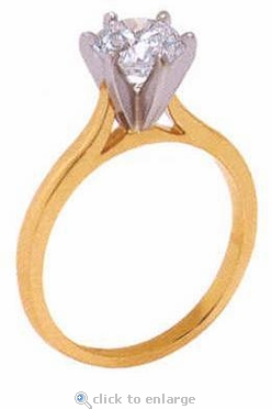 .75 Carat Round Cubic Zirconia Cathedral Solitaire Engagement Ring