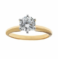 .75 Carat Round Cubic Zirconia Six Prong Classic Solitaire Engagement Ring