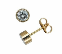 .75 ct. Each Round Bezel Set Cubic Zirconia Stud Earrings