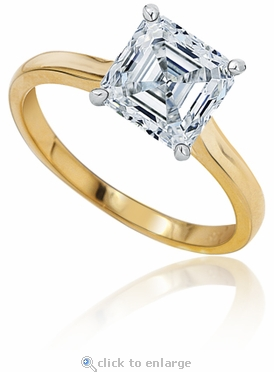 8.5 Carat Asscher Cut Cubic Zirconia Cathedral Solitaire Engagement Ring