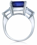 8.5 Carat Cushion Cut Sapphire with Trillions Cubic Zirconia Three Stone Ring