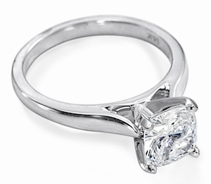 8.5 Carat Cushion Cut Square Cubic Zirconia Cathedral Solitaire Engagement Ring
