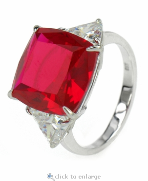 8.5 Carat Cushion Cut with Trillions Three Stone Cubic Zirconia Engagement Ring