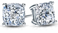 8.5 Carat Each Cushion Cut Cubic Zirconia Stud Earrings