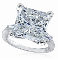 8.5 Carat Princess Cut Cubic Zirconia Baguette Solitaire Engagement Ring