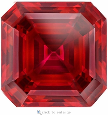 8.50 Carat 12mm Asscher Cut Ruby Lab Created Synthetic Loose Stone