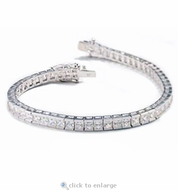 8 Carat Channel Set Princess Cut Cubic Zirconia Bracelet
