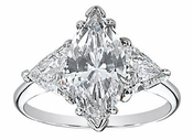 8 Carat Marquise with Trillions Cubic Zirconia Three Stone Ring