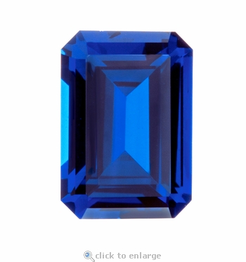 9 Carat 14x10mm Emerald Cut Blue Sapphire Lab Created Synthetic Loose Stone