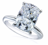 9 Carat Cushion Emerald Cut Cubic Zirconia Classic Solitaire Engagement Ring