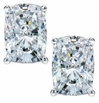 9 Carat Each Elongated Cushion Cut Cubic Zirconia Stud Earrings