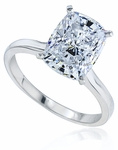 9 Carat Elongated Cushion Cut Cubic Zirconia Cathedral Solitaire Engagement Ring