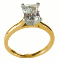 9 Carat Emerald Cut Cubic Zirconia Cathedral Solitaire Engagement Ring