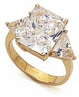 9 Carat Emerald Cut with Trillions Cubic Zirconia Engagement Ring