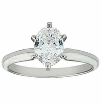9 Carat Oval Cubic Zirconia Classic Solitaire Engagement Ring