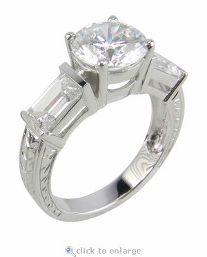 Adella 2 Carat Round Cubic Zirconia Baguette Engraved Solitaire Engagement Ring