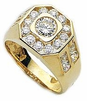 Aidon Bezel and Channel Set Round Cubic Zirconia Mens Ring