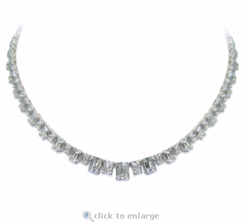 Alcott Cubic Zirconia Graduated Emerald Cut Statement Tennis Necklace