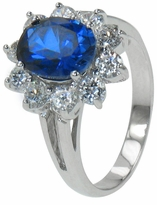 Allegra 1.5 Carat Sapphire Blue Oval Cubic Zirconia Halo Cluster Ballerina Ring