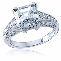 Allston 2.5 Carat Asscher Cut Cubic Zirconia Cathedral Pave Solitaire Engagement Ring