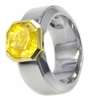 Alpha Asscher Cut Cubic Zirconia Bezel Set Simulated Canary Yellow Diamond Solitaire Engagement Rings