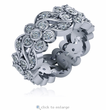 Alyssium Floral Flower Bezel Set Round Prong Set Cubic Zirconia Eternity Band