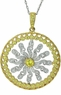 Ambiance Simulated Canary Diamond Sun Burst Cubic Zirconia Two Tone Pendant