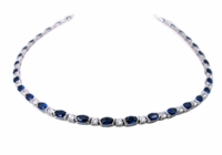 Anderson Cubic Zirconia Oval Horizontal Semi Bezel Set Round Statement Tennis Necklace
