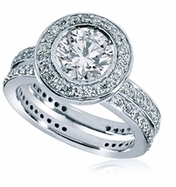 Andromeda 2 Carat Round Bezel Set Cubic Zirconia Halo Pave Wedding Set