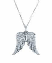 Angelic Angel Wings Pave Cubic Zirconia Charm Pendant