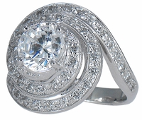 Annisa 1.25 Carat Round Cubic Zirconia Pave Swirled Solitaire Engagement Ring