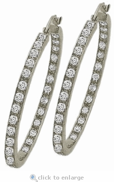 Anniston Large Inside Out Cubic Zirconia Pave Hoop Earrings