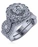 Anthos 1 Carat Cubic Zirconia Round Halo Pave Braided Woven Shank Bridal Wedding Set