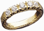 Antique Engraved Prong Set Cubic Zirconia Round Anniversary Band