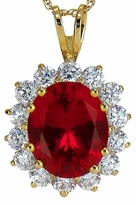 Antonia Man Made Ruby 4 Carat Oval Gemstone Halo Cubic Zirconia Round Pendant