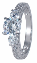 Aoki 1.25 Carat Round Cubic Zirconia Three Stone Engraved Ring