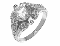 Arabella 2 Carat Round Cubic Zirconia Victorian Antique Estate Style Ring