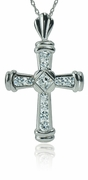 Aram Princess Cut and Round Cubic Zirconia Cross Pendant
