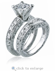 Art Deco Engraved 1.5 Carat Princess Cut Cubic Zirconia Wedding Set