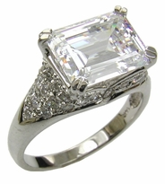 Art Deco Inspired Horizontal 4 Carat Emerald Step Cut Cubic Zirconia Pave Antique Estate Style Ring