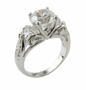 Art Deco Three Stone 2 Carat Cubic Zirconia Round Engraved Antique Estate Style Anniversary Ring