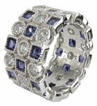 Asante Princess Cut Cubic Zirconia Round Bezel Set Eternity Band