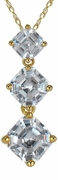 Ashlyn Three Stone Graduated Asscher Cut Cubic Zirconia Inspired Anniversary Pendant