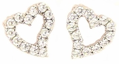 Askew Prong Set Round Cubic Zirconia Diamond Look Heart Earrings