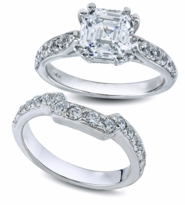 Asscher 1.5 Carat Cubic Zirconia Double Prong Cathedral Pave Bridal Set